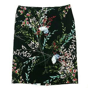 Talbots Skirt Floral Spring Black Cotton 10